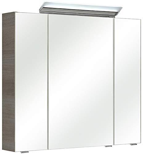 Pelipal - FILO/ORIA II - 80 cm Spiegelschrank - Badmöbel in Graphit Struktur quer, 3-türig, Türdämpfung, 6 Einlegeböden, LED Aufbauleuchte, EEK: A+ (Spektrum A++ - A)