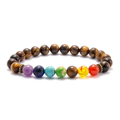 MEMGIFT Tiger Eye Beaded Bracelets for Women Men Mom Dad Son Daughter Best Friend Fashion Trendy Chakra Bead Bracelet Aromatherapy Essential Oil Diffuser Healing Charm Simple Handmade Jewelry Elastic