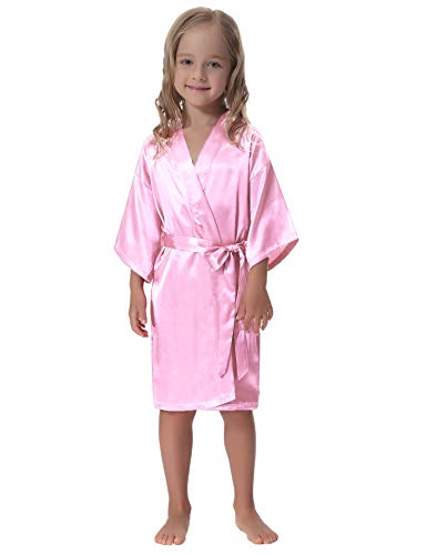 Aibrou Kids' Satin Kimono Robe Bathrobe Nightgown for Spa Party Wedding Birthday Baby Pink
