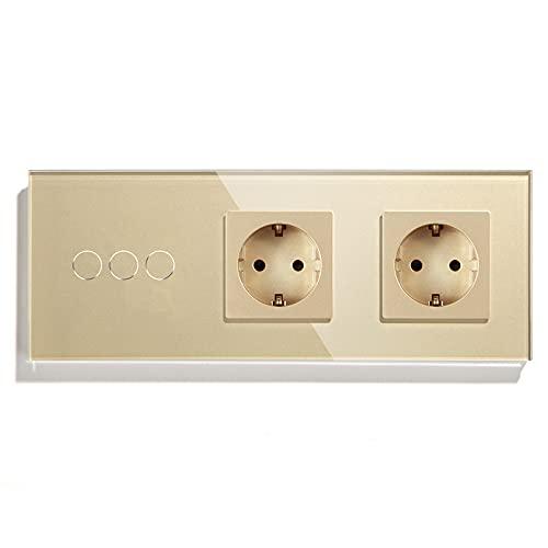 BSEED Normal enchufe doble con Interruptor de luz WiFi,Compatible con Alexa y Google Home,Control de APP y Función de Temporizador,3 Gang 2 Vías WiFi Interruptor de Pared con Enchufe Doble Oro