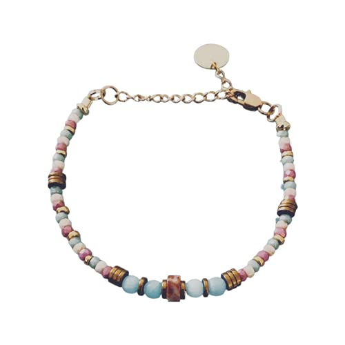 Pulsera de perlas, pulsera de mujer, piedras mágicas naturales y perlas Heishi chapadas en oro de...
