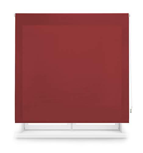 Blindecor Ara - Estor enrollable translúcido liso, Rojo Burdeos, 160 x 175 cm (ancho x alto)