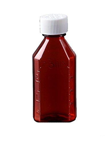 Pharmacy Bottle - Oval Plastic Bottle - 1 oz - Amber - Child Resistant Caps - 12 pcs (Medicine Bottle, Prescription Bottle, Liquid Medicine) by AmexDrug
