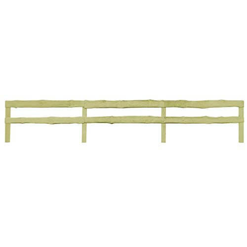 Tidyard 2-Schienen-Gartenzaun Imprägniertes Kiefernholz Pine Waterproofed Garden Fence 90x 510 cm Bonanza Fence Rancher Fence