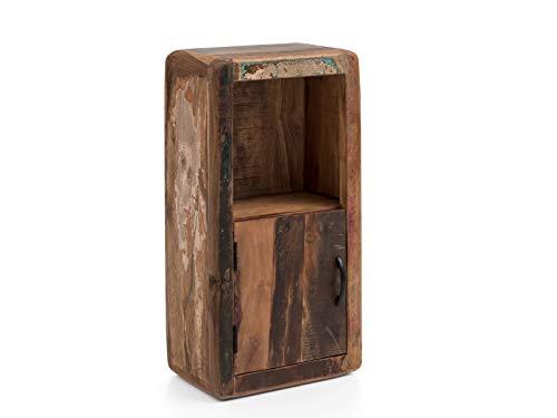 Woodkings® Bad Hängeschrank Kalkutta mit Fach recyceltes Holz bunt rustikal Hängebad Badhochschrank massiv Badmöbel Massivholz Badezimmer Badezimmerschrank Wandschrank