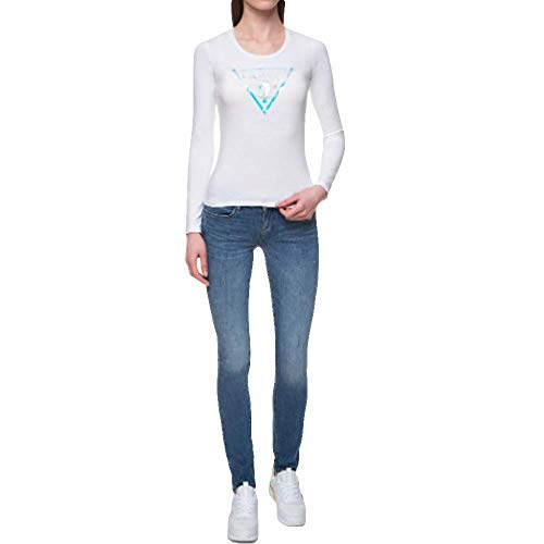 Guess Camisa Blanca de Manga Larga para Mujer con Cuello Redondo W01I76K6YW0-TWHT XL