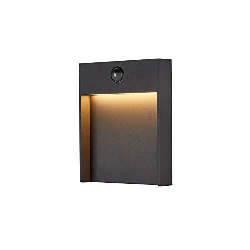 SLV LED Wandleuchte FLATT für die Außenbeleuchtung von Hauseingang, Wänden, Wegen, Terrassen, Fassaden, Treppen | LED Wandlampe, Aussenleuchte, Gartenlampe // CCT Switch (3000K/4000K), 600 Lumen, 16W