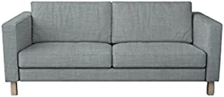 MastersofCovers Polyester Karlstad 3 Seat Sofa Cover for The IKEA Karlstad 3 Seater Sofa Slipcover Replacement-Light Grey