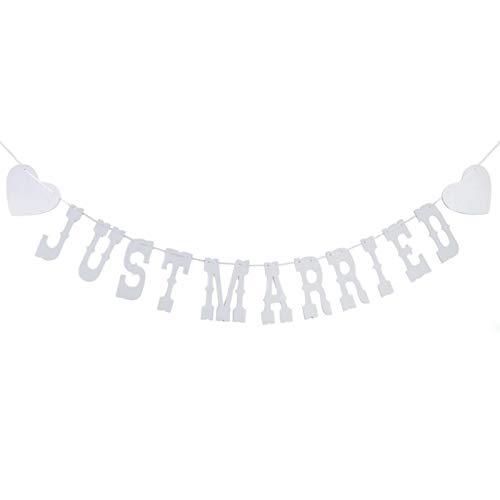 Just Married Rústico Banner Rústico Vintage Banner De Recién Casados Decoración De...