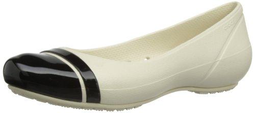 Crocs Women's Cap Toe Flat,Stucco/Black,US 4 W