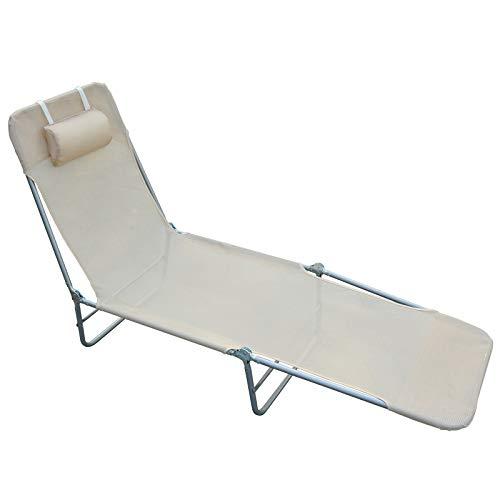 Outsunny Lettino reclinabile Sdraio Sedia da Giardino/Spiaggia/Piscina Crema Pieghevole