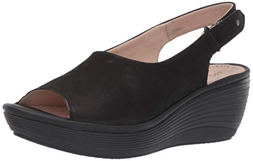 Clarks womens Reedly Shaina Wedge Sandal, Black Nubuck, 6.5 Wide US