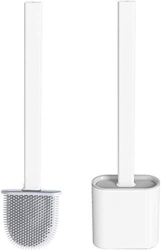 Shamdon Home Collection Toilettenbürste, WC-Bürste und Behälter, Silikon Klobürste ohne Bohren,Premium Flach Toilettenbürste mit schnell trocknendem Haltersatz