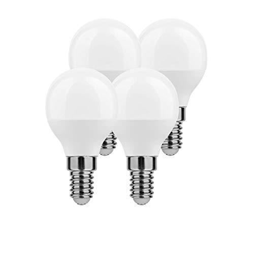 LumCa Pack de 4 bombillas LED P45, 6 W, blanco neutro, E14, equivalente a 45 W, 4000 Kelvin, 600 lúmenes, no regulable, 220 – 240 V, ángulo de haz de 270°, forma de gota E14, LED Globe E14