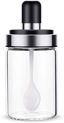 Zhiyangmaoyi 砂糖 容器 砂糖入れ 塩 容器 スパイスボトル 調味料入れ 耐熱ガラス 調味料 容器 250ml