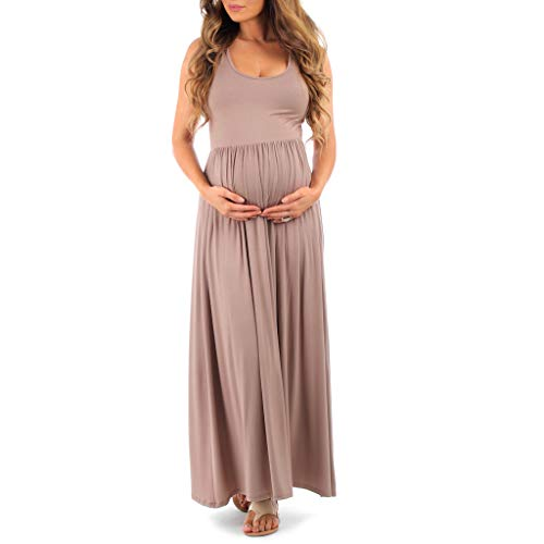 Women's Ruched Sleeveless Maternity Dress in Regular and Plus Sizes - Made in USA Mocha