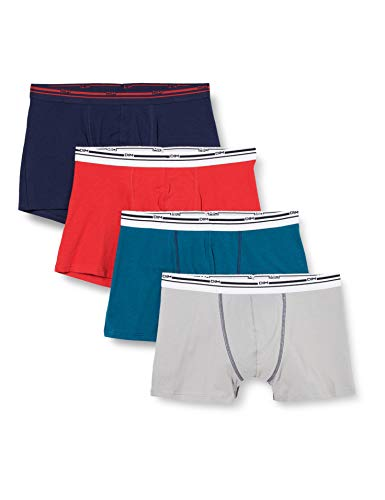 Dim Boxer Classic Colors X4 Shorts, Acier/Bleu Prusse/Bleu Denim/Rouge, L (Lot de 4) Homme