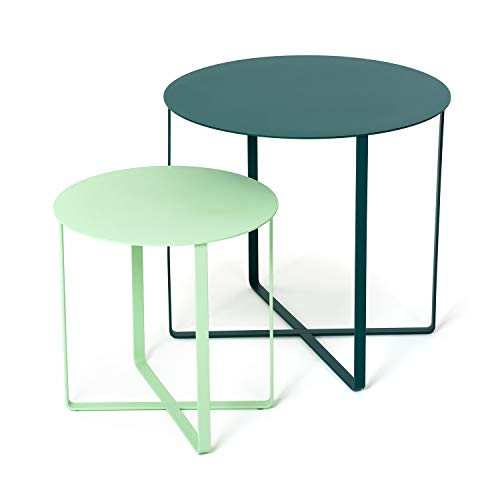 KAUTSCH 2er Beistelltisch Set aus Metall Maxe-Paule (hellgrün-dunkelgrün)