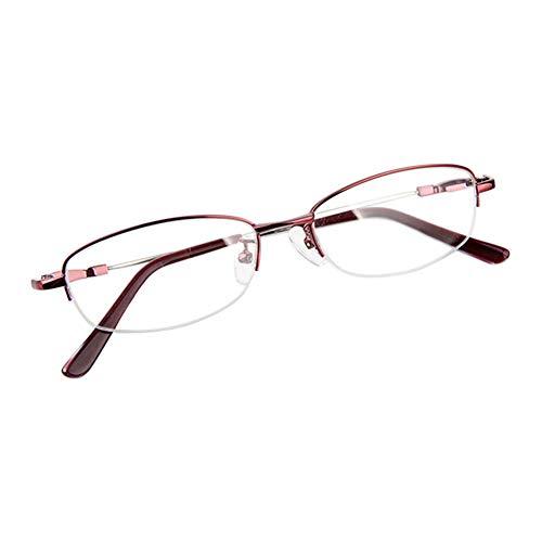 Dintang Wein Rot Memory Metall Hälfte Rahmen Kurzsichtigkeit Brille, Frau Anti-Strahlung Kurzsichtige Brillen Kurzsichtig Goggles Spectacles Eyewear -0.5 Stärke