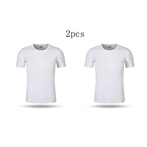 BINGXY Fruit of the Loom, T-shirt de sport, coupe pour homme et femme, manches courtes de qualité supérieure, T-shirt de travail, 2 pièces, blanc, XXXL