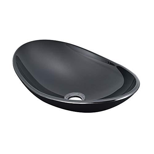 [neu.haus] Waschbecken Schwarz Waschschale 47x31cm Sicherheitsglas Glas Waschtisch Aufsatzbecken Handwaschbecken Badezimmer