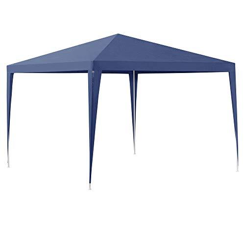 [casa.pro] Carpa Pabellón para Jardín 300 x 300 x 255cm Quiosco Gazebo Cenador de jardín Estructura de Metal Plegable Azul Oscuro