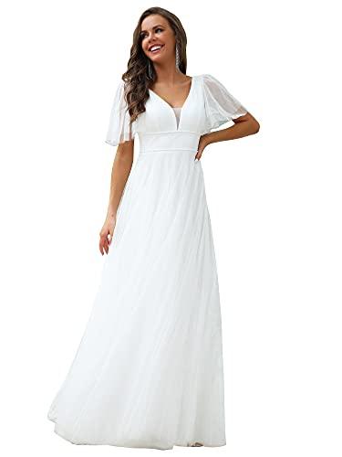 Ever-Pretty A-línea Vestido de Novia Largo para Mujer Escote en V Manga Corta Tul Corte Imperio Blanco 54