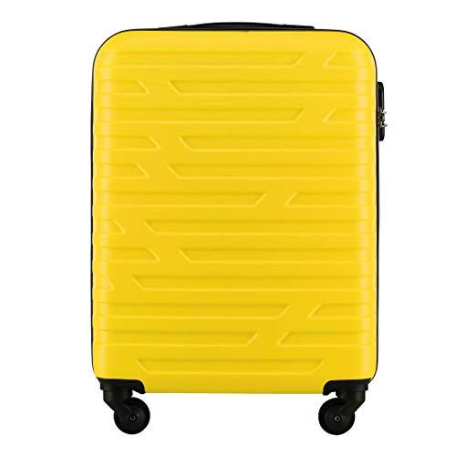 Stabiler Koffer-Trolley Handgepäck von WITTCHEN ABS 54 x 39 x 23 cm 2.8 kg 38 L Gelb Bordgepäck Bordcase 56-3A-391-85