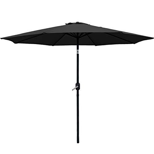 AXT SHADE Sombrilla Parasol 270CM Sombrilla Jardin,Sombrillas Terraza para Jardín,con 8 Varillas, Impermeable, inclinable con manivela para Patio/Playa/Piscina-Gris Oscuro