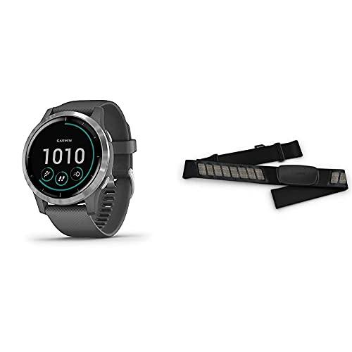 Garmin Orologio Smart Vivoactive 4 Smartwatch Gps, Music, Pay, Wi-Fi, Diametro: 4,5 Cm, Lunghezza: Ca. 24 Cm, Grigio & Hrm-Dual Fascia Cardio Premium Ant+ E Bluetooth Ble, Nero, One Size