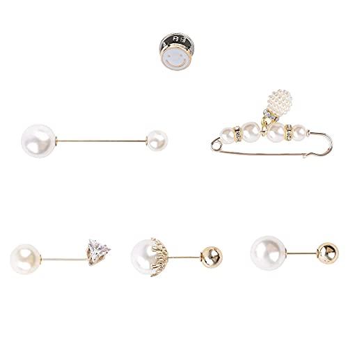 Aloces 6 spille per maglione, da donna, con perle, per sciarpa, sciarpa, con perle finte, per sciarpa, sciarpa, per donne e ragazze