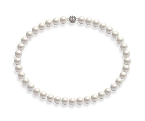 Schmuckwilli Damen Muschelkernperlen Perlenkette Weiß Magnetverschluß echte Muschel 45CM dmk1019-45 (10mm)