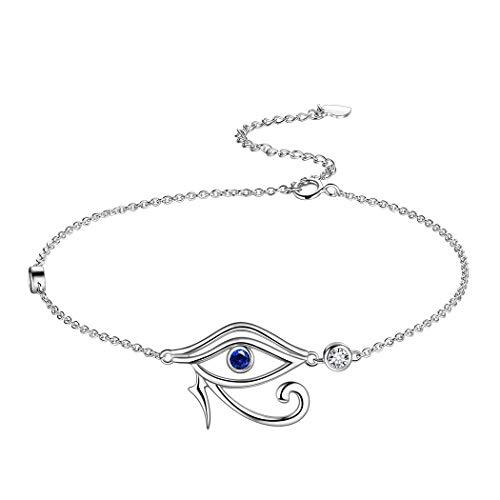 Women's Eye of Horus Charm Bracelet 925 Sterling Silver Horus Eye of Ra Adjustable Bracelet Protection Symbol Jewelry Gift for Girls Birthday Valentine Day FB0002W
