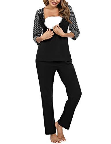 Doaraha Conjunto de Pijamas de Maternidad y Enfermería para Mujer Rayas Manga Media Pijama Premamá Lactancia Camiseta y Pantalones Algodón Embarazo Ropa de Dormir (Negro, L)
