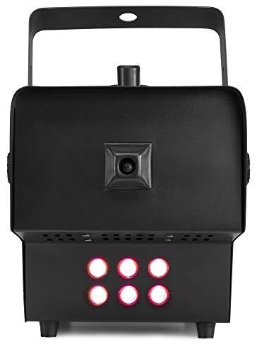 beamZ Rage 1500 LED Nebelmaschine, 1500 Watt, 6 x 9 W 3-in-1 RGB-LEDs, Nebel-Ausstoß: 350 m³/min, 3,5 l Fluid-Tank mit LED-Beleuchtung, 6-Kanal DMX-Steuerung, Controler mit Timer, schwarz