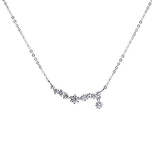 GLLFC Collar para Mujer Collar Hombre A Row Diamonds S925 Cadena de clavícula de Plata esterlina Todo-fósforo Personalidad Explosiva Joyería Colgante Collar Niñas Niños Regalo
