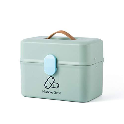 Mulple Medizinbox, 2 Ebenen Medizinschrank, Mit Schloss und Griff, Medizinische Box mit großer Kapazität, 28 * 18 * 22cm