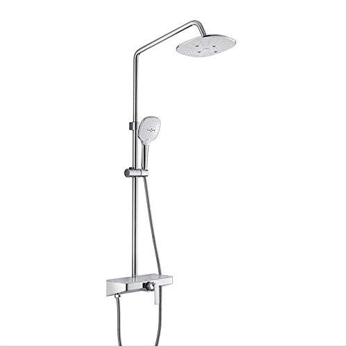 XUSHEN-HU Cromo completo ducha de cobre y grifo frío baño montado en la pared ducha set baño baño