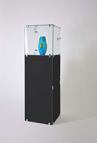 Vitrina de joyería pequeña con cerradura, con LED, vitrina de cristal y compartimento para exposiciones, expositores o ferias