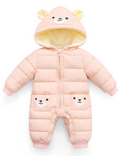FEOYA Mono de invierno para niña o niño, con capucha, grueso, cálido, ropa de nieve,...