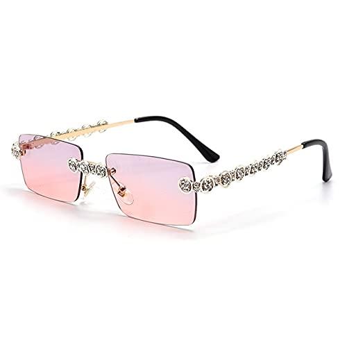 Berrd Gafas de Sol de Diamantes sin Montura para Mujer, Gafas de Sol Steampunk rectangulares, Gafas de Cristal Retro con Diamantes de imitación, Gafas UV400