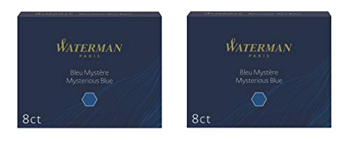 Waterman - 2 Confezioni da 8 Cartucce UGC Lunghe Inchiostro Blu Nero
