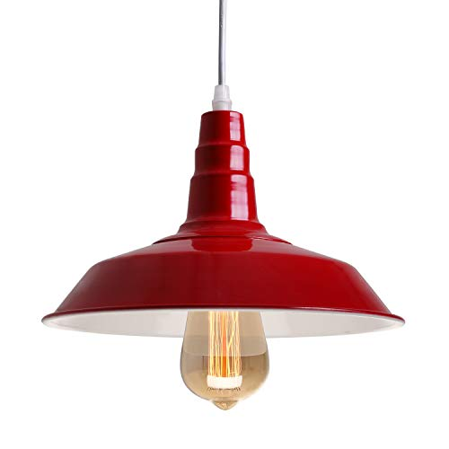BAYCHEER Industrial Retro Style Wrought Iron Large Pendant Light Ceiling Lighting Lamp Modern Chandelier Fixture use E26 Light Bulb Socket for Barn Warehouse Restaurant, 10.23 inches Red