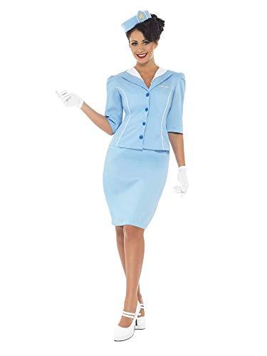 Smiffys-22117S Disfraz de azafata del Aire, con Chaqueta y Cuello postizo, Sombrero, Falda y Guantes, Color Azul, S-EU Tamaño 36-38 (Smiffy