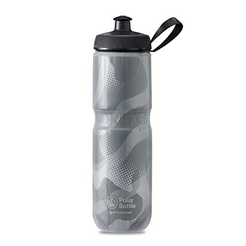 Polar Bottle Sport Insulated Water Bottle - BPA-Free, Sport & Bike Squeeze Bottle with Handle (Contender - Charcoal & Silver, 24 oz)