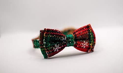 Collar de piel para perro cachorro de Navidad (32 cm, rojo/verde)
