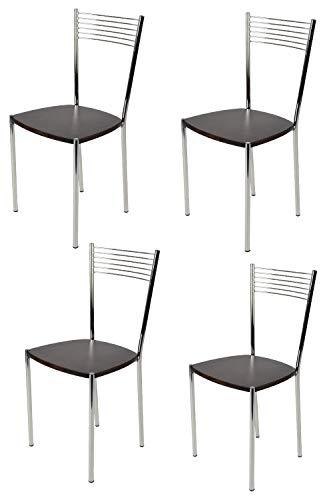 Tommychairs - Set 4 sillas Elegance para Cocina, Comedor, Bar y Restaurante, Estructura en Acero Cromado y Asiento en Madera Color wengué