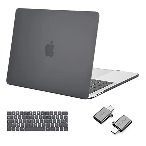 MOSISO Case Compatibile con MacBook PRO 13 Pollici 2016-2020 Uscita A2338 M1 A2289 A2251 A2159 A1989 A1706 A1708, Custodia Rigida in Plastica&Tastiera Cover&Tipo C Adapter, Grigio
