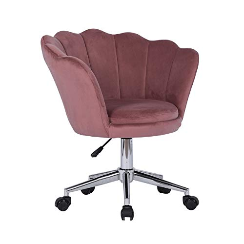 Farelves Velvet Desk Chair Swivel Computer Chair for Home Upholstered Executive Office Chair with Arms Ergonomic Adjustable Work Chair with Scalloped Backrest and Wheels Pink
