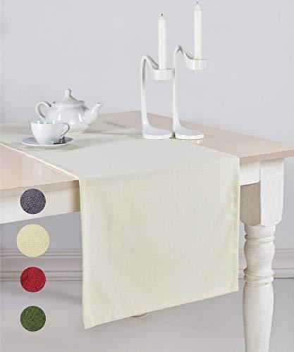 pamuq® Tischläufer Weihnachten Leinen-Optik | 48x160 cm | abwaschbar & fleckenabweisend | Tischdecke Table Runner Läufer Tisch-Deko Tischband Tafeltuch Tischtuch Tischwäsche (Creme-weiß)